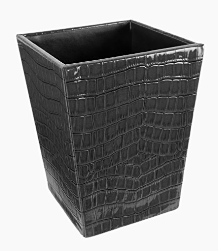Square Dustbin Large Sized Crocodile Print (Black) New Arrival Best Selling Premium Quality Lowest Price Modern Look Waste Basket, Lightweight Trash Bin, Durable Garbage Bin, Perfect Workmanship with Skilled Stitching, Great Way to Accent Your Office in High End Style, Get Rid of Trivial Debris/Paper Waste from Your Desk & Give it a Classy Make Over, Much Needed Addition to Organise Your Office, Classy, Beautifully Finished, Ideal for Home, Office, Bedroom, Study, Conference Room