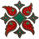 Readymade Elegantly Designed Red & Green Rangoli - With Tulip Flower And Leaf Shape Design Decorated With Multicolour Stones And Beads On Elongated Square Plastic Base - 9 Pieces Set