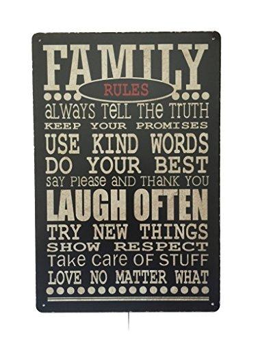 Family Rules Metall Wandschild Blechschild 20x 30cm
