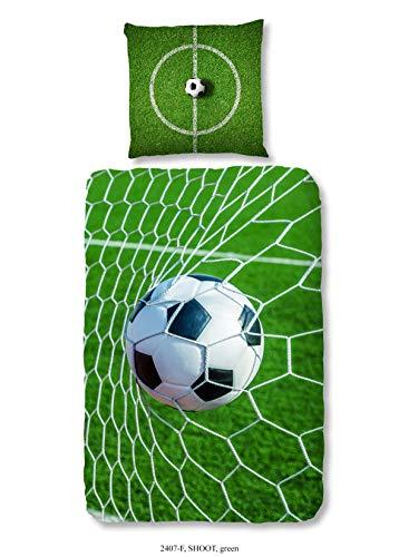 Aminata Kids - Kinder-Bettwäsche-Set 135-x-200 cm Fussball-Motiv für Echt-e Sport Fan-Artikel Ecke-n Motiv verstärkt WM FIFA | Biber | Reißverschluss | Weiss grün | Jugendlich-e