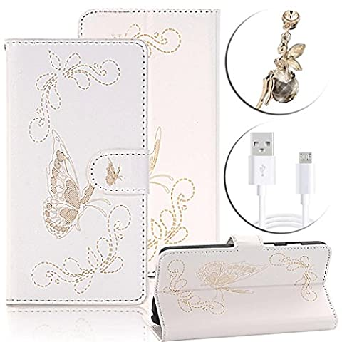 LG G5 Case,LG G5 Cover,LG G5 Butterfly Case,Vandot Magnetic Flip Stand PU Leather Wallet Case Luxury Bronzing Print Pattern Scratch-Resistant Cover For LG G5-(White)+USB Cable+Bling Anti Dust Plug