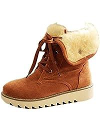 Minetom Mujer Invierno Botines Botas De Nieve Botas De Piel Calentar Casual Plano Zapatos