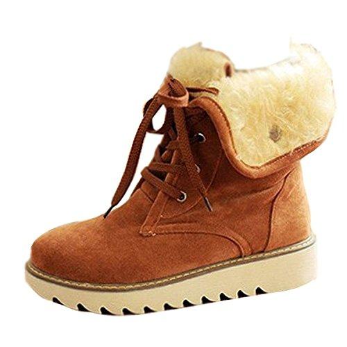 Minetom Mujer Invierno Botines Botas De Nieve Botas De Piel Calentar Casual Plano Zapatos Marrón EU 37
