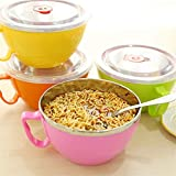 Solid Stainless Steel Bowl Instant Noodle Bowl With Lid With Handle Stainless Food Container Rice Bowl Soup Bowl