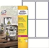 Avery Zweckform L4773REV-8 Outdoor-Folienetiketten (A4, 192 Etiketten, wetterfest, ablösbar, 63,5 x 33,9 mm) 8 Blatt, weiß