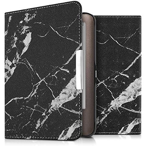 kwmobile Elegante funda de cuero sintético para el Tolino Shine / Page en Diseño mármol negro blanco