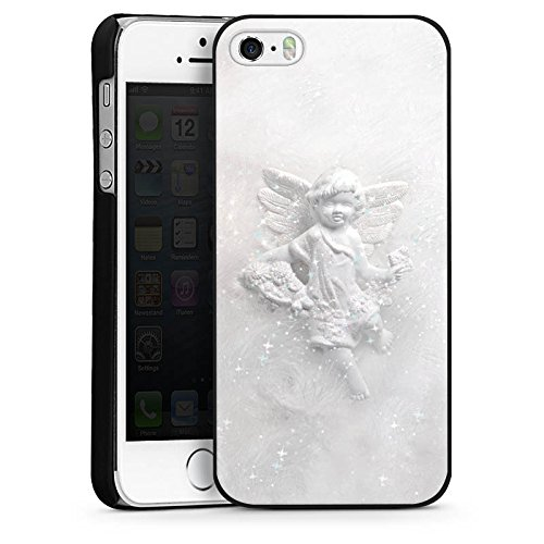 Apple iPhone 5s Housse Étui Protection Coque Ange gardien Canne Ange CasDur noir