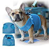 Septven Hochwertiges Weiches Atmungsaktives Breathable Air-Mesh Material Brustgeschirre (Leine enthalten) für Hunde / Welpen (XS, Blau)