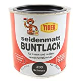 Acryllack Tiger Buntlack schwarz seidenmatt 0,375l