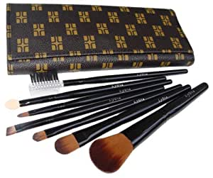 LyDia professional 7 pieces black face powder/concealer/eye shadow makeup brush set with chocolate brown case