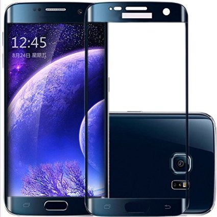 AccWorld High Quality Edge to Edge Full Screen Coverage Coloured Curved Tempered Glass Screen Protector for Samsung Galaxy S6 Edge Plus model only ( Blue )