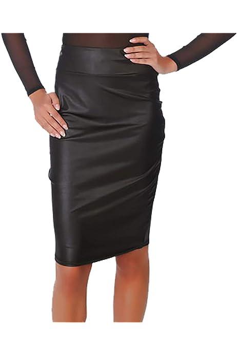 Damen High Waist Rock Leder Look Kunstleder Pencil Stretch Skirt Bleistift Optik