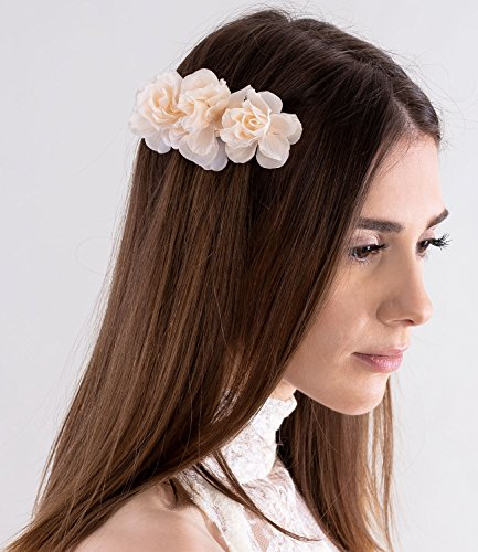 SIX Damen Haar Accessoire, Haarschmuck, Hochzeits Schmuck, Blumen Haarspange, 3 nude Rosen, Seidenoptik (04-529)