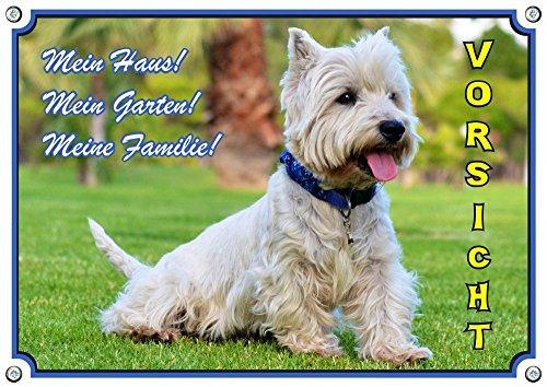 Petsigns Hundeschild - West Highland White Terrier - wetterbeständiges Metallschild, 1. DIN A5