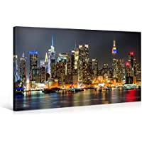 Impression Giclée sur Toile en Grand Format – ILLUMINATED MANHATTAN NEW YORK – 100x50cm – Photo sur Toile de Tendue sur Châssis en bois – Tableau Artistique Contemporain – Image Déco d'Art Murale Prêt à Accrocher