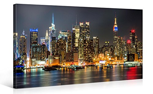 Impression Giclée sur Toile en Grand Format - ILLUMINATED MANHATTAN NEW YORK - 100x50cm - Photo sur Toile de Tendue sur Châssis en bois - Tableau Artistique Contemporain - Image Déco d'Art Murale Prêt à Accrocher