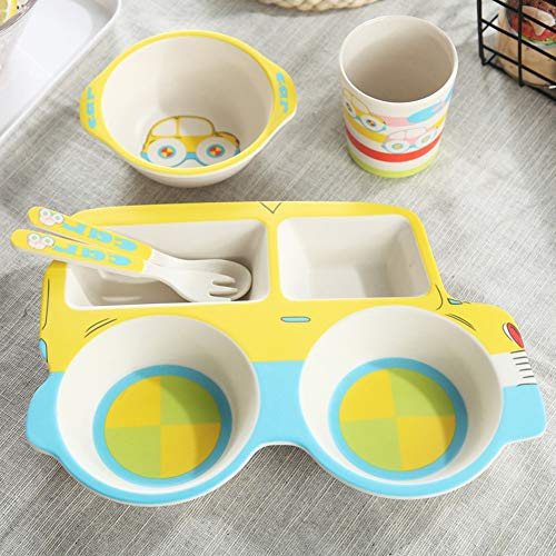 Ciotola tongtong shop set di posate per bambini piatto portabottiglie in fibra di bambù per bambini (color : yellow)