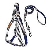 Viilere Hundegeschirr, Step-in Harness Nylon Passender Verstellbare Geschirr Set Leine Sicherheitsgeschirr für Hunde Haustiere(Blau Streifen L (0.79'Breit 47.2'Laenge 15.7'-25.6' Brust)