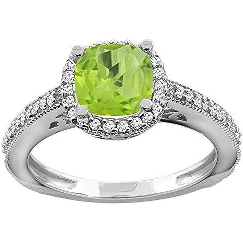 Revoni 14ct oro lazulí Natural el anillo de compromiso de diamante de Halo amortiguador de 7 mm