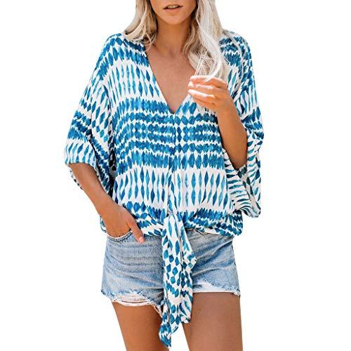 Fannyfuny Kurzarm Hemd Damen Sexy Tief V-Ausschnitt Blumendruck t-Shirt Blusen Frauen Sommer Casual Lose Oversize Shortsleeve Tee Tuniken Party Oberteil Blau S/M/L/XL -