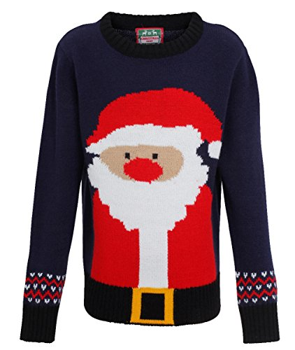 Christmas Shop Boys Rudolph Santa Knitted Jumper/Sweater Kids Christmas Sweatshirt (3-4yrs, Navy/Red)