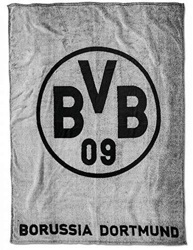 Borussia Dortmund BVB Fleecedecke mit Logo in grau, Polyester, Grau/schwarz, 200 x 150 x 1 cm, 1 Einheiten