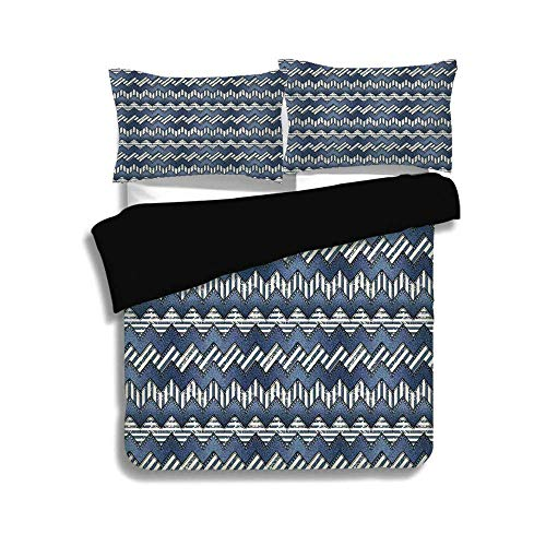 Schwarzer Bettbezug-Set, nautische Dekoration, Patchwork von Denim-Stoff im nautischen Stil Stich Streifen Jeans Zickzack Chevron dekorative, dekorative 3 Stück Bettwäsche Set von 2 Pillow Shams, TWIN (Twin Bettwäsche Für Mädchen Chevron)