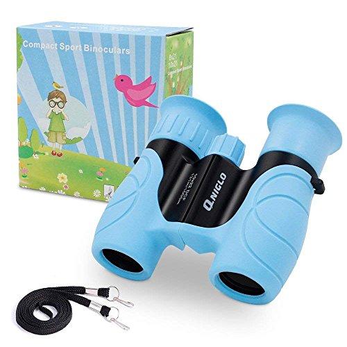 QNIGLO Jumelles Enfants, Jumelles Mini 8x21 pour Enfants, Jumelles Compactes pour Enfants avec Observation des Oiseaux, Activités de Plein Air, Randonnée, Cadeaux d'anniversaire pour de 4-12 Ans