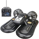 Hugine 4 Canal RC Bateau radio commandé vaisseau aéroglisseur amphibie télécommande jouet pour enfants (Noir)