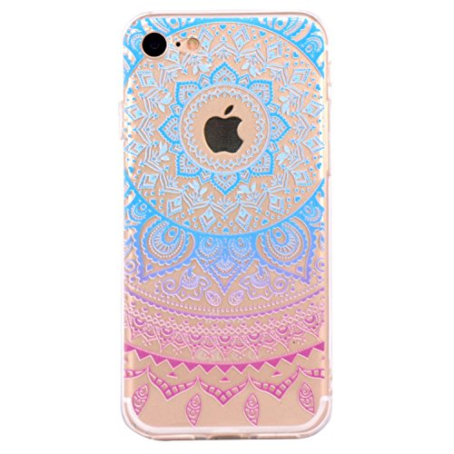 iPhone 6 Case, Walmark Beautiful Clear TPU Soft Case Rubber Silicone Skin Cover for iPhone 6 4.7 inch inch - Blue Purple Tribal Mandala