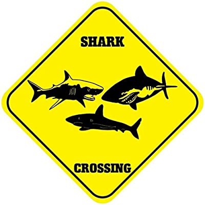 Monsety Rustic Metal Sign Post Shark Crossing Funny Aluminum Wall Art Plaque Decoration
