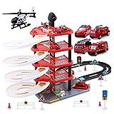 TXXCI Kinderspielzeug Auto Parkplatz Engineering Spielzeugauto Set mit Auto und Bahnhubschrauber