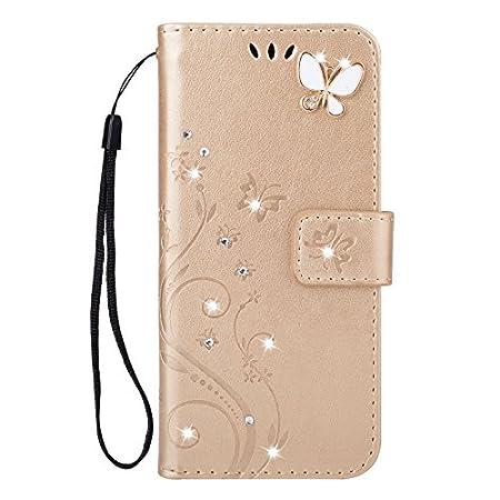 Karomenic kompatibel mit Samsung Galaxy A50 PU Leder Hülle Schmetterling Glänzend Glitzer Handyhülle Brieftasche TPU…