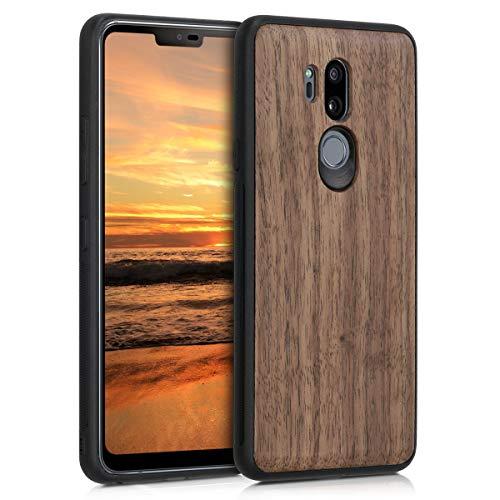 kwmobile Holz Schutzhülle für LG G7 ThinQ/Fit/One - Hardcase Hülle mit TPU Bumper Walnussholz in Dunkelbraun - Handy Case Cover