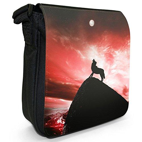 Lupo che ulula alla luna piena-Borsa a tracolla in tela, piccola, colore: nero, taglia: S Nero (rosso)