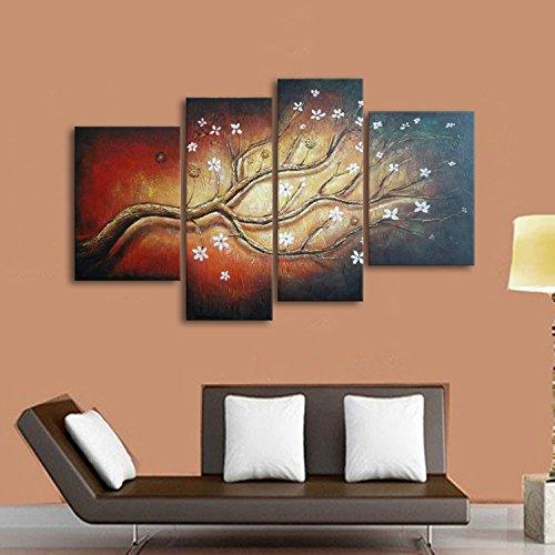 IPLST@ Grandi dipinti murali Decorazione, 4 Pannello moderna su tela Blooming Albero della pittura a olio di vita di Hall, sala da pranzo Decor (senza cornice, senza