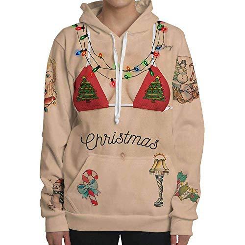SEWORLD Weihnachten Vintage Christmas Damen Langarm 3D Drucken Party mit Kapuze Top Hoodie Sweatshirt Pullover(Mehrfarbig,EU-34/CN-S)