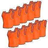 Anself Sportsshirts Sportweste Teamsport T-Shirt für Kinder 10 Stück Orange