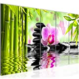 Bilder Orchidee Feng Shui Wandbild 200 x 80 cm Vlies - Leinwand Bild XXL Format Wandbilder Wohnzimmer Wohnung Deko Kunstdrucke Pink 5 Teilig -100% MADE IN GERMANY - Fertig zum Aufhängen 502055a