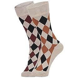 DUKK Men's Beige Crew Length Cotton Lycra Socks (Pack of 2)
