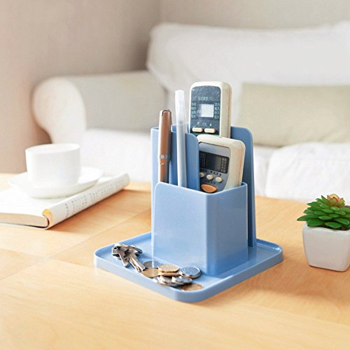 1x Grün:  Multifunktionale Schreibtisch-Aufbewahrungsbox für Fernbedienung, Kosmetik, Organizer für Kleinteile, Aufbewahrung, Handy-Halter, Münzablage