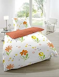 """2-tlg. Renforce Wendebettwäsche Garnitur """"Blumen"""", Größen 135 x 200cm und 155 x 220cm, Farbe: orange Größe 155 x 220"""