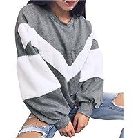 Koly Mujeres Sudadera Sweater Invierno Plain Suelto O cuello Camisa de entrenamiento Labor de retazos Cachemira Manga larga Pulóvers Tops Blusas y camisas T Shirts Blouse Sudaderas