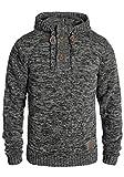 !Solid Philon Herren Winter Pullover Strickpullover Kapuzenpullover Grobstrick Pullover mit Kapuze, Größe:M, Farbe:Black (9000)