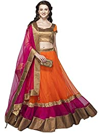 Generic Women's Net A-line Semi-Stitched Lehenga (Orange_Free Size)