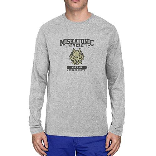 Planet Nerd Miskatonic University - Herren Langarm T-Shirt Grau Meliert