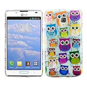 kwmobile Hülle für LG Optimus L7 II P710 - Backcover Case Handy Schutzhülle Kunststoff - Hardcase Cover Eule Familie Design Mehrfarbig Pink Mintgrün