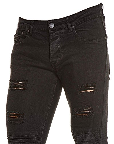 BLZ jeans - Jean homme noir troué nervuré Noir