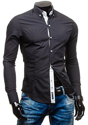 BOLF – Chemise casual – avec manches longues – BOLF 5807 – Homme Noir