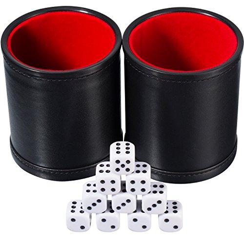 Hestya 2 Cubiletes de Dados de Cuero PU Juego con 10 Dados de Puntos para Jugar (Negro)